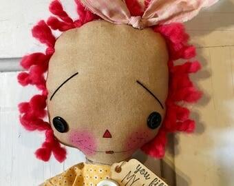 Sunshine yellow Raggedy Ann - Raggedy Annie - Ragdoll - handmade doll -  Raggedy Ann doll -