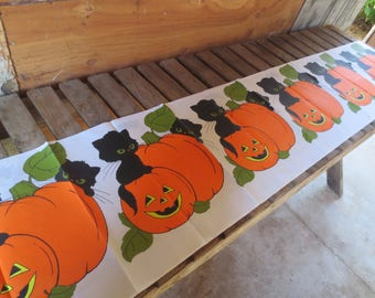 Vintage 70s Paper Tablecloth / Halloween Crepe Tablecloth / retro halloween tablecloth / Black cat pumpkin / Unused tablecloth / 60 x 104""