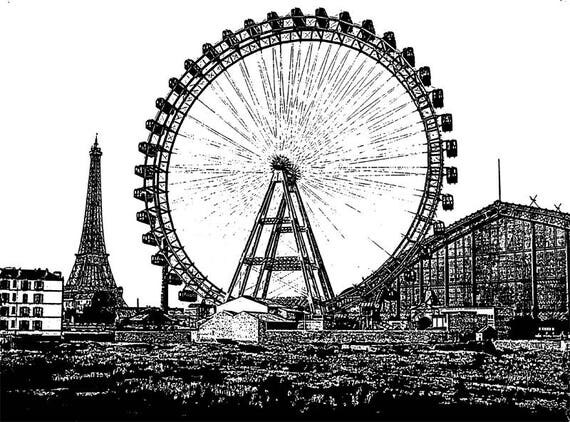 Eiffel tower ferris wheel printable abstract ink style black and white art png jpg Digital Download Image graphics paris city france