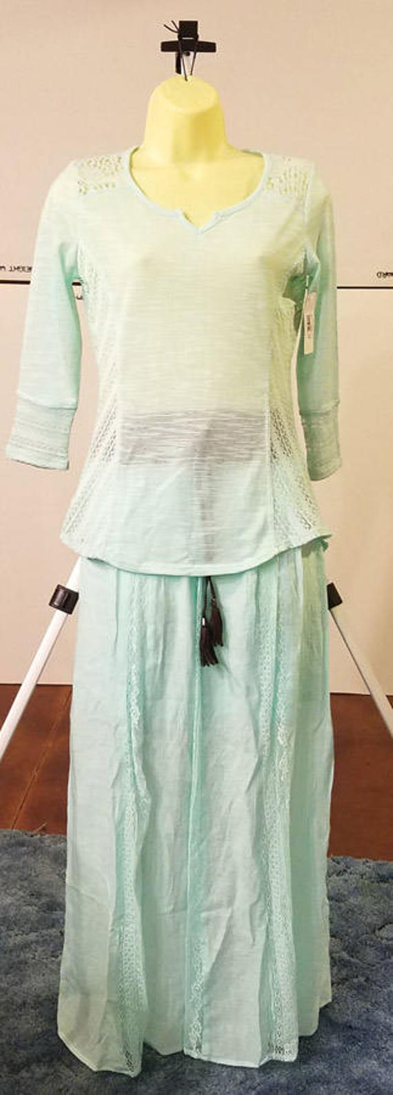 light blue lace blouse long skirt clothes lot outfit set size small MED womens NEW No Boundaries