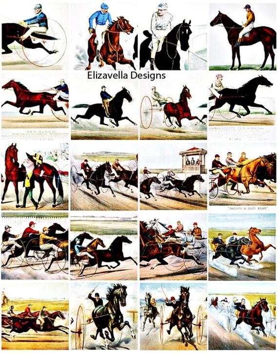 equestrian horse racing horse jockey digital COLLAGE SHEET download 2 inch squares clip art vintage art printable graphics images