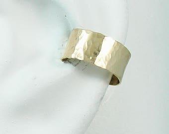 Ear Cuff, 14K Solid Gold Ear cuff, Non-pierced earcuff, Cartilage Wrap, Earring Fake Conch, No Piercing, Faux Pierced Hoop Hammered E114KHM