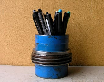 Pencil Holder for desk Industrial Desk Decor Storage Organizer Steampunk Office Salvaged Steel Pencil Cup Pen Stand Coworker Gift for Men