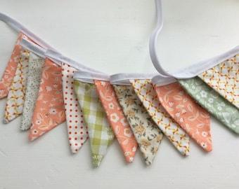 "Orange peach bunting / Flag / Garland - 14 small flags  2.5m or 98"" long Wedding table decoration"