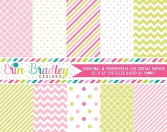 80% OFF SALE Digital Scrapbook Papers Personal and Commercial Use Soft Pink and Green