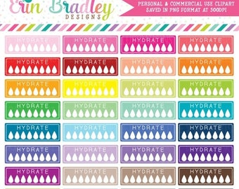80% OFF SALE Hydrate Clipart Graphics for Planner Girls Personal & Commercial Use Hydrate Boxes Clip Art