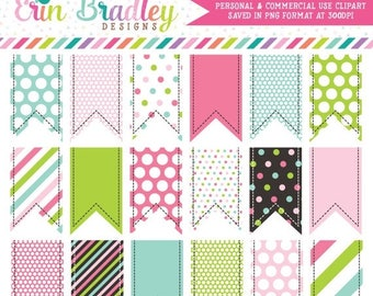80% OFF SALE Colorful Clipart Ribbon Tags Instant Download Commercial Use Graphics Pink Green Blue Polka Dots Chevron Stripes