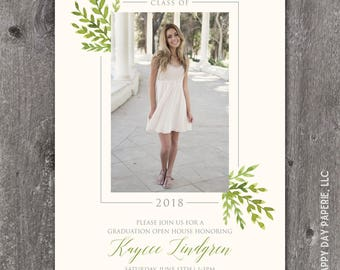 Grad Laurels - Custom Digital or Printed Photo Graduation Announcement Invitation