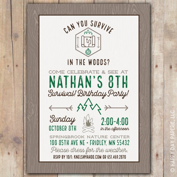 Survival custom digital or printed birthday party invitation any il570xn filmwisefo
