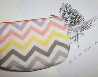 Chevron Zipper Pouch, gusset bottom carry-all, organizer pouch, travel pouch, cosmetics, phone, ANYTHING!