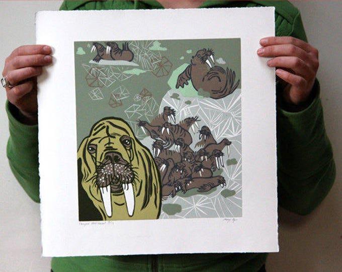 Walrus, woodcut print, block print, original art by Jenny Pope