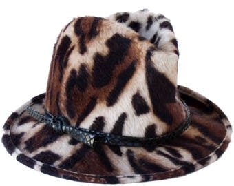 Animal Print Fedora Hat Fall Fashion Hat Boho Chic Hippie Hat 1970s Fashion Retro Style Hat Crushable Packable Tiger Print Fall Accessories