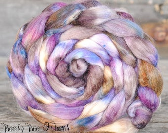 LUNA ROSA - Hand Dyed Merino, Wool Roving, Soy Silk, Mohair, Nylon Wool Spinning Roving Combed Top Luxury Fiber for Spinning Felting