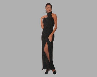 Evening gown pattern McCall's 7295 3 sizes 36 - 40 bust Halter neckline Ankle length Above knee length dress UNCUT Front thigh slit
