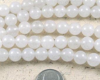 """15"""" Round Gemstone Beads-WHITE JADE 8mm (48)"""