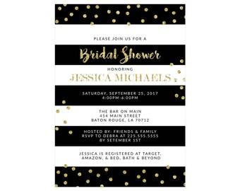 Black and White Stripe Bridal Shower Invitations Gold Glitter Bachelorette Party Invites Wedding Shower Wedding Party Black Gold Bridal