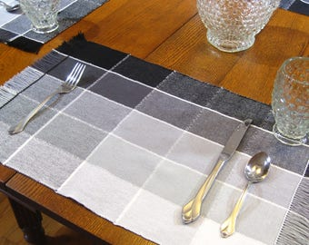 Hand Woven Greystone Placemats Woven Shades of Grey Placemats 4 Plaid Placemats Woven Placemat Woven Table Mat Woven Coffee Table Scarf