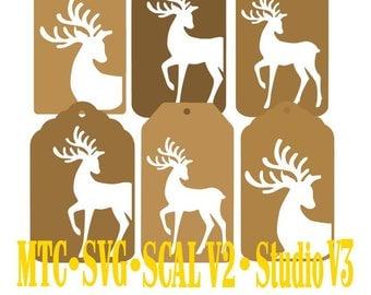 Set 01 Christmas Reindeer Gift Tag Set of 6 Cut Files MTC  SVG File Format