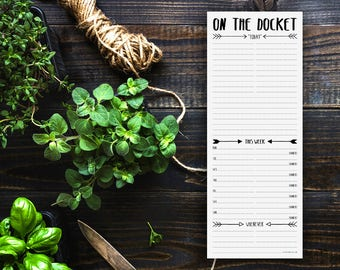 On the Docket Weekly To Do List Notepad (large magnetic note pad, modern day planner, organization memo pad, black white arrows)