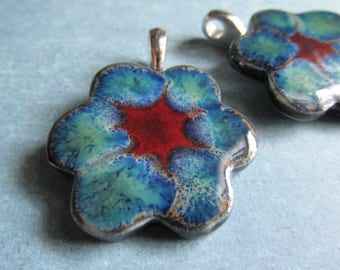 ONE LEFT, blue green flower pendant with bail, Layers of Glaze Porcelain pendant, , porcelain , Pendant, Porcelain Pendant, tracee