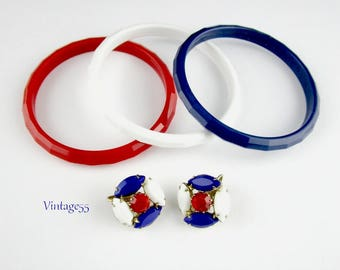 Red White & Blue Jewelry Bracelets Earrings