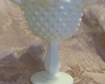 Vintage Fenton Hobnail Milk Glass Pattern Footed Pedestal Dish White Milk Glass 1950s 50s Wedding Decor Wedding China Mid Century Candy Dish