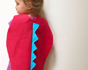 Red Toddler Dinosaur Cape, Toddler Halloween Costume, Little Kids Cape, Ready to Ship