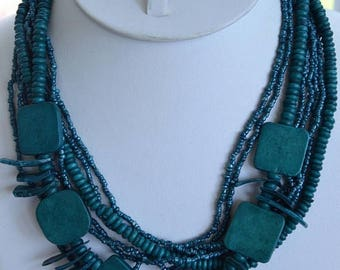 "On sale Aqua Blue Wooden, Glass Beaded Multi-Strand Necklace, Vintage,  Tribal, ""Avenue"", 18""-21"""