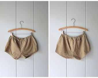 80s Cotton Shorts Vintage Board Shorts Elastic Waist Thin Cotton Shorts Minimal Tomboy Shorts Beach Shorts Basic 70s Shorts Womens Medium