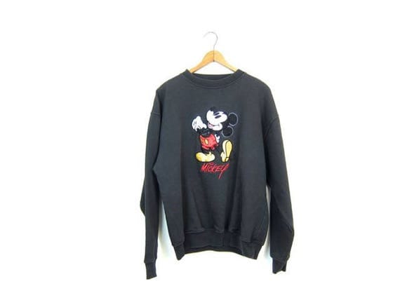 Vintage Mickey Mouse 90s Sweatshirt Black Disney Pullover Thick Cotton Novelty Sweater Slouchy Oversized Retro Hipster Top Womens Medium