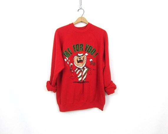 Red Tasmanian Devil Sweatshirt Tacky Christmas sweatshirt 1980s vintage Xmas sweater Ugly Party sweater Novelty Raglan Sweater Unisex XL