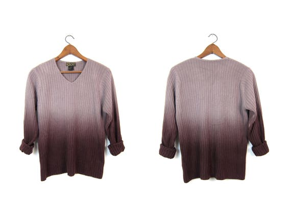 90s Brown OMBRE Sweater Soft Ribbed Knit Pullover Vintage Minimal Henley Vneck Thin Knit Sweater Top Hipster Grunge Thermal Womens Medium