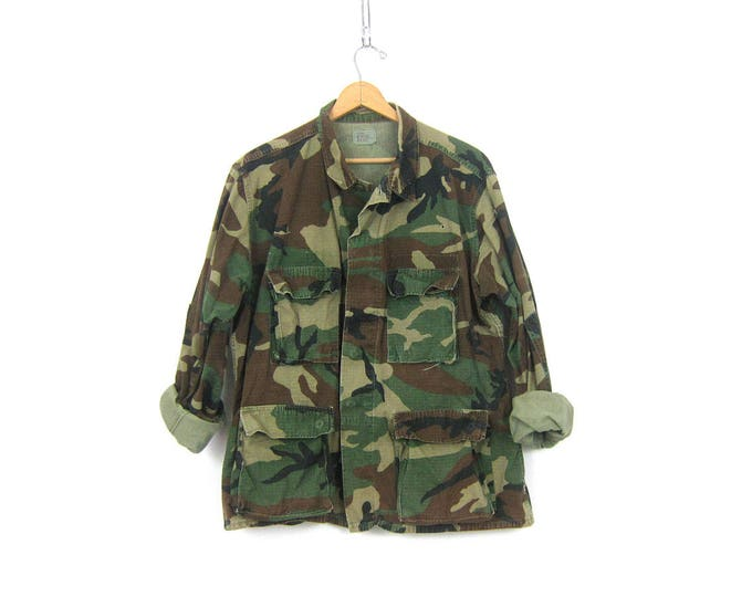 USA Army CAMO Surplus Shirt Jacket Vintage United States Military Coat Distressed Green Camouflage Fatigues Grunge Punk Coed Size Large