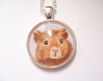 Guinea Pig pendant, Wearable art silver necklace, original animal drawing, miniature pet portrait pendant Necklace