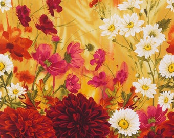 "24"" Fabric Panel - Timeless Treasures Dahlia Large Red Yellow Floral Wallhanging"