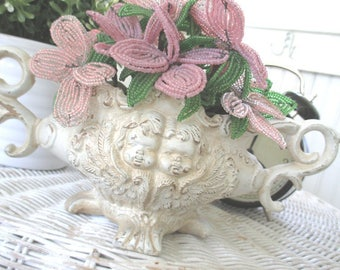SALE * Vintage Jardiniere * Cherubs * Pink French Beaded Flowers * Shabby Chic