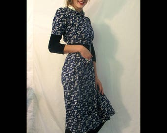 Charming 40's/50's Navy and White Flower print dress with lovely pocket details from BASIA DESIGNS Private Collection