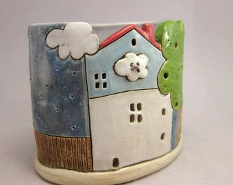 Cloud Button...Tea Light Holder in Stoneware