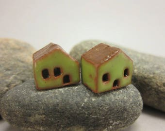 READY TO SHIP...Miniature Terracotta House Beads...Set of 2...Green Walls/Brown Roof