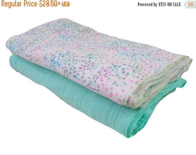 SALE Aqua and Pink Muslin Cotton Swaddle Blankets, Embroidered Lightweight Cotton Summer Baby Blanket, Gray and White Cotton Baby Blankets