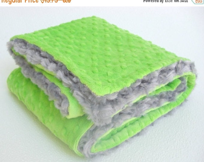 SALE Gray and Lime Green Minky Blanket for Baby Boy, three sizes Can Be Personalized