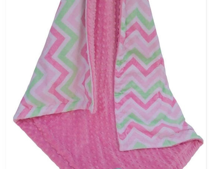 SALE Paris Pink and Green Chevron Baby Blanket, Pink Green Minky Dot Baby Blanket, Can Be Personalized