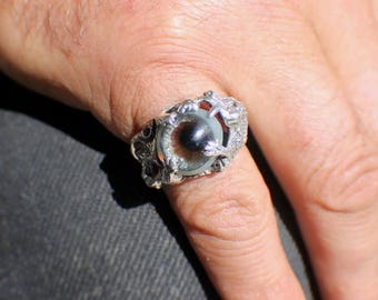 Sz 8 Sterling Silver Dragon Ring with Prosthetic Eye