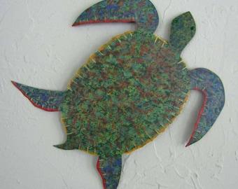 Metal Ocean Decor Wall Art Sea Turtle Sculpture Ocean Beach House Wall Decor Bright Beautiful Green Blue Bathroom Wall Art  Sea Life 13 x 12