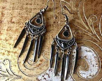 Vintage Bronze and Black Enamel Chandelier Earrings
