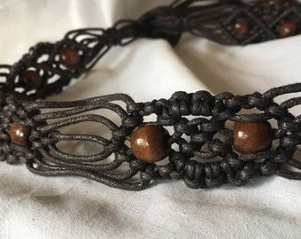 Vintage Macrame Belt Woven Brown Cord with Beaded Fringe