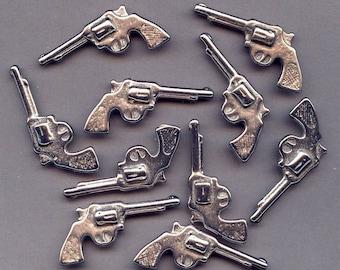 Lot of 10 Old Chrome Metal Mini TOY COWBOY GUNS