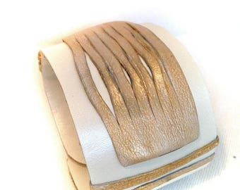40% OFF SALE Stylish Women's Leather Bracelet Cuff Wide Gold and white chic Wristband
