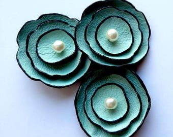 50% OFF SALE Jewelry supplies leather petals flowers for pendants, necklaces, brooches, shoes clips etc Handmade supplies