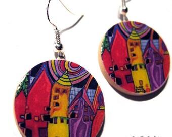 * Earrings * Hundertwasser: houses waiting